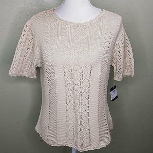 Vintage Lizsport Fancy Knit Short Sleeved Sweater